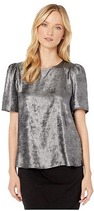 Vince Camuto Short Sleeve Distressed Foil Shoulderpad Blouse (Rich Black) Women's Clothing
