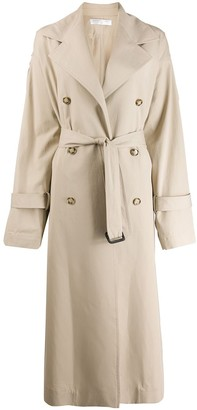 Victoria Beckham Double-Breasted Long Trench Coat