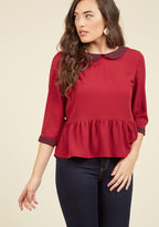 Evening at the Easel Ruffled Top in Scarlet in XL