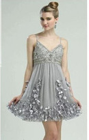 Sue Wong N1379 V-neck Feathered Cocktail Dress