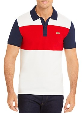 Lacoste Color-Block Striped Slim Fit Pique Polo Shirt