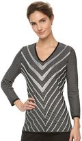 Dana Buchman Women's Chevron V-Neck Sweater