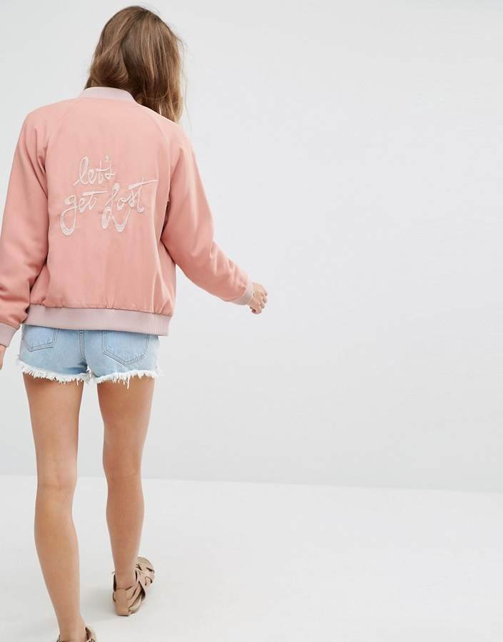 Lovers + Friends Let's Get Lost Back Slogan Bomber Jacket
