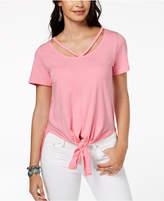 Lucky Brand Cutout Tie-Front T-Shirt
