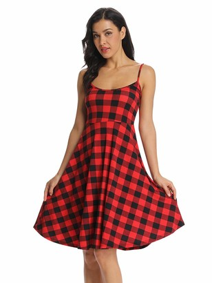Aeslech Women's Backless Spaghetti Strap Fit and Flare Plaid Slip Dress White Black M