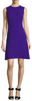 Oscar de la Renta Wool Seamed Fit And Flare Dress
