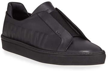Giorgio Armani Men's Logo-Embossed Slip-On Low-Top Sneakers, Black