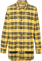 Off-White logo print check shirt