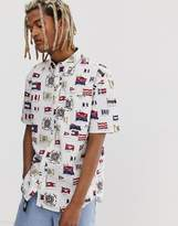 Tommy Jeans Summer Heritage Capsule short sleeve shirt in white with all over print