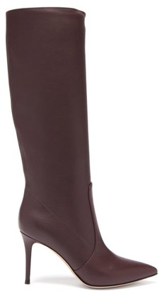 Gianvito Rossi Hansen 85 Point-toe Leather Knee-high Boots - Burgundy