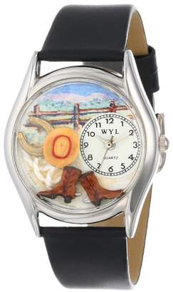 Whimsical Watches Ranch Black Leather and Silvertone Unisex Quartz Watch with White Dial Analogue Display and Multicolour Leather Strap S-0110005