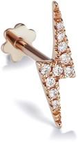 Maria Tash 11mm Diamond Lightning Bolt Thread Through Single Earring - Rose Gold