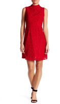 Adrianna Papell Mock Neck Scroll Lace Fit & Flare Dress (Missy & Petite)