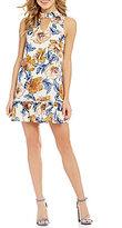 Jodi Kristopher Choker Neck Floral-Print Flounce Hem Shift Dress