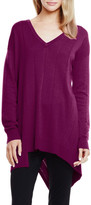 Two by Vince Camuto Drop Stitch Asymmetrical V-Neck Sweater