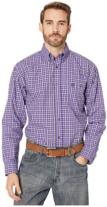 Wrangler George Strait Long Sleeve One-Pocket Plaid Button (Purple/Black) Men's Clothing