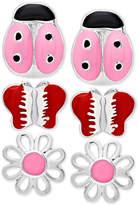 Macy's Children's 3-Pc. Set Enamel Stud Earrings in Sterling Silver
