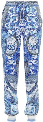 Camilla Eternity Crystal-embellished Printed Silk-satin Tapered Pants