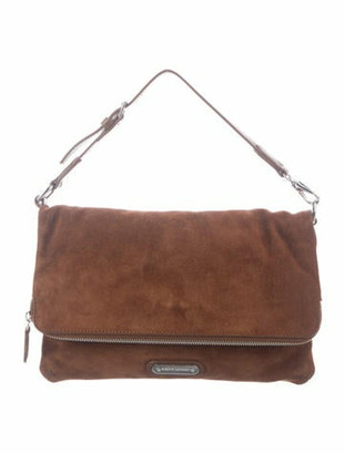 Ralph Lauren Purple Label Suede Fold-Over Satchel Brown