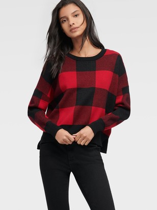 DKNY Women's Plaid Crewneck Sweater - Black/Red - Size XL