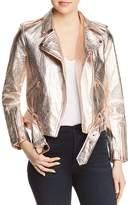 True Religion Metallic Leather Moto Jacket