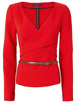 Barbara Bui Belted Crepe Top: Red
