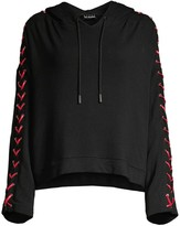The Kooples Sweet Fleece Lace-Up Hoodie