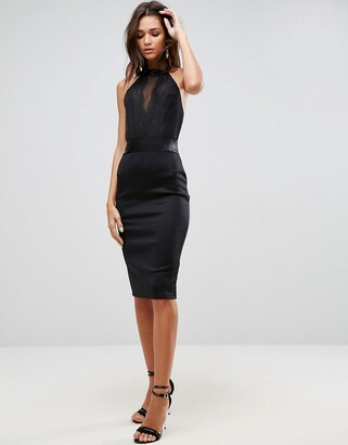 Asos High Neck Lace Bodycon Midi Dress with Ribbon Ties