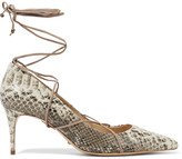 Schutz Lace-up snake-effect leather pumps