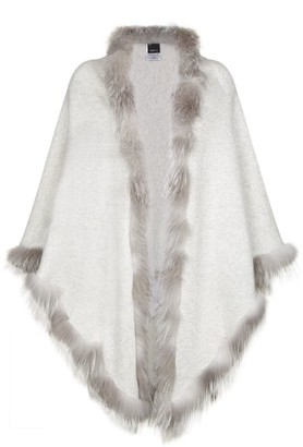 William Sharp Fox Fur-Trim Cashmere Scarf