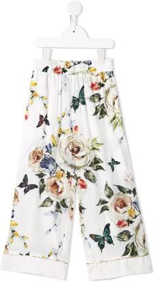 MonnaLisa Floral-Print Palazzo Trousers
