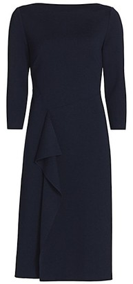 St. John Ruffled Milano-Knit Wool Sheath Dress