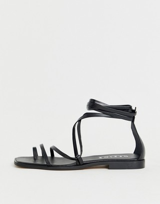 Office Seaweed black leather barely there sqaure toe loop sandals