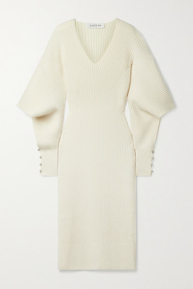 Lanvin Cutout Embellished Ribbed Wool And Cashmere-blend Midi Dress - Cream