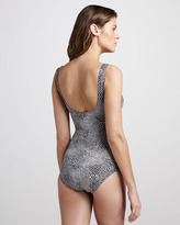 Karla Colletto Lizard-Print Ruched One-Piece Swimsuit