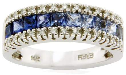 Effy 14K White Gold Diamond & Rainbow Blue Sapphires Band Size Ring 6.75