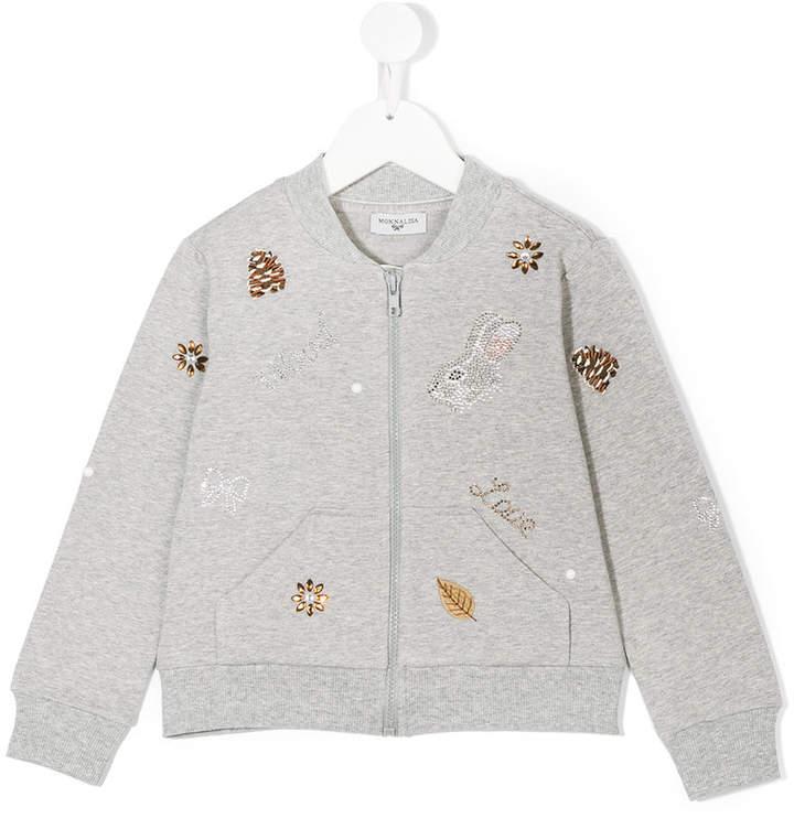 MonnaLisa embellished bomber jacket