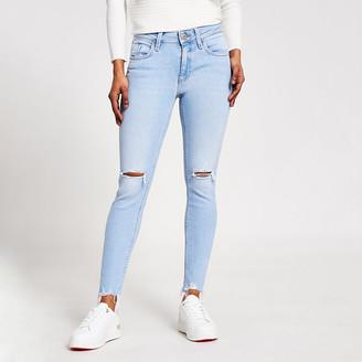River Island Petite light blue Amelie super skinny jeans
