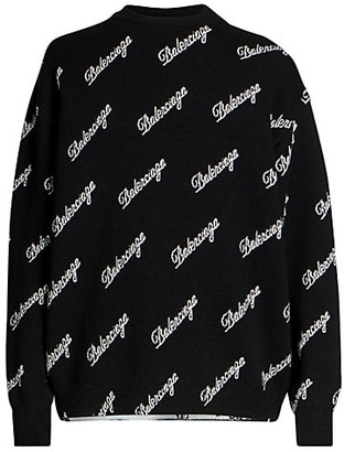 Balenciaga Cursive Logo Crew Sweater