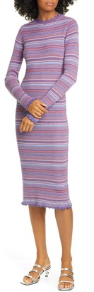 Stine Goya Tinita Stripe Long Sleeve Wool Blend Dress