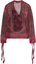 Etro Ruffled Printed Silk-georgette Blouse - Red