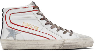 Golden Goose White and Red Slide High-Top Sneakers