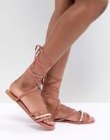 Asos Design DESIGN Fascination Leather Embellished Flat Sandals