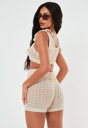 Missguided Cream Co Ord Crochet Shorts