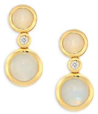 Tamara Comolli Bouton 18K Yellow Gold, Two-Tone Moonstone & Diamond Triple-Drop Earrings