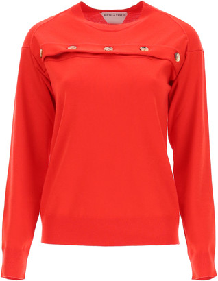 Bottega Veneta SWEATER WITH OPENING AND BUTTONS M Red Wool