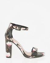 Le Château Floral Faux Leather Ankle Strap Sandal