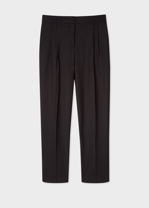 Paul Smith A Suit To Travel In - Women's Tailored-Fit Black Double-Pleat Wool Pants