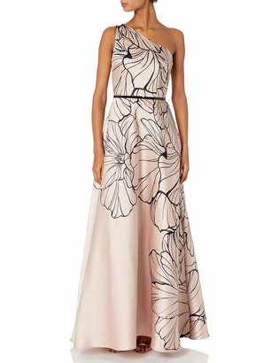Carmen Marc Valvo Women's One Shoulder Printed Mikado Gown W/Beads