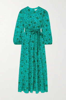 Zimmermann Lulu Belted Floral-print Linen Midi Dress - Jade